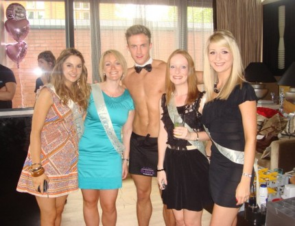 Butler with two girls on a hen do