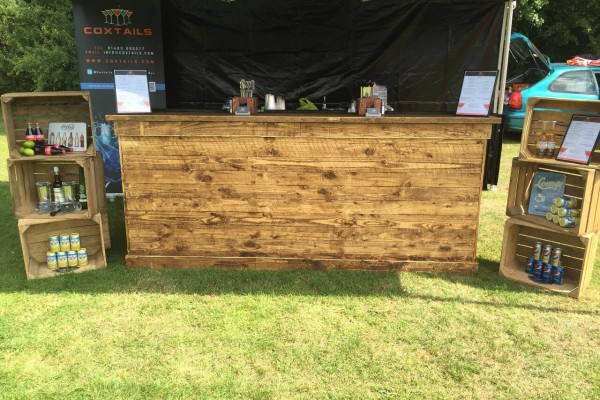 Landscape view of the vintage wooden bar for hire